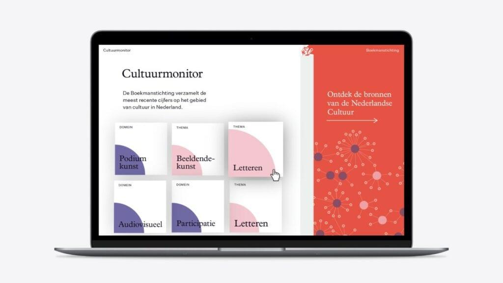 Homepagina van de cultuurmonitor met rapportages en bronnen visualisaties